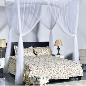 4-Poster-Bed-Canopy-Mosquito-Net-Netting-Bedding-White-Full-Queen-King-Size