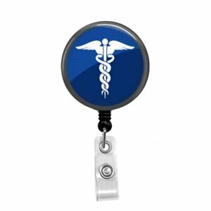 Badge Retractable Badge Holder Blue Caduceus Tech Medical Nursing Doctor
