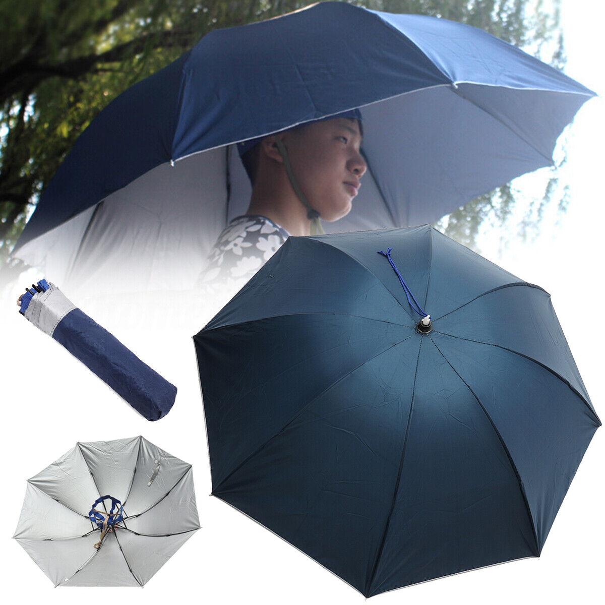 100cm Faltbar Sonne Regen Groß Regenschirm Hut Fischen Zelten Mütze Kappe
