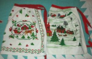 2-Vintage-Terrycloth-Christmas-Aprons-Sleigh-Horses-Snow