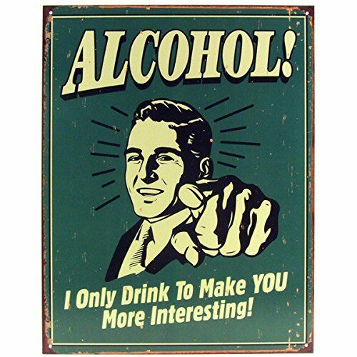 """41X31cm MORE INTERESTING. LARGE  RETRO METAL WALL SIGN,12.5/"""" X 16/"""" ALCOHOL!"""
