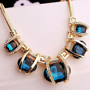 Blue Crystal Fashion Women Pendant Chain Choker Chunky Statement Bib Necklace