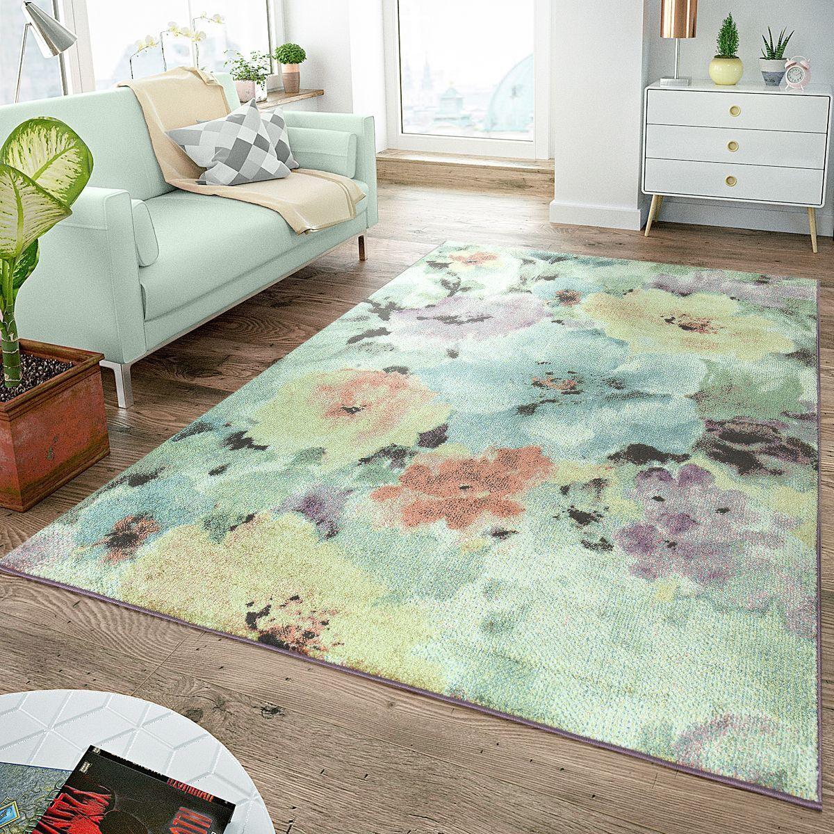 Tapis Moderne Poils Ras Colorees Pastels Design Floral MultiColoreeee Bigarré