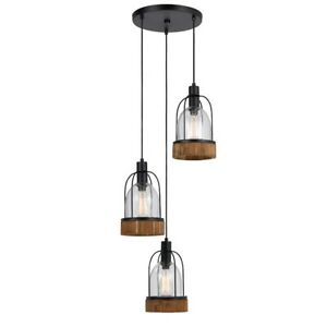 cal lighting beacon 3 light glass pendant dark bronze wood fx