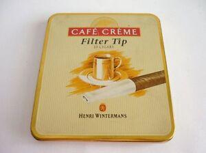 old henri wintermans cafe creme filter tip holland cigar tin case ebay. Black Bedroom Furniture Sets. Home Design Ideas