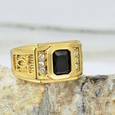 mens class 18k yellow gold filled black onyx wedding bands pinky ring size 10
