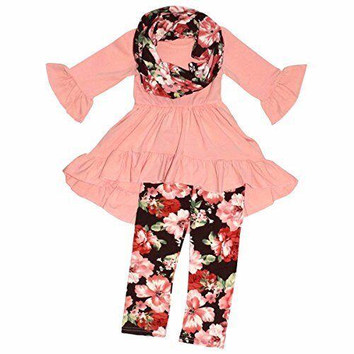 Unique Baby Girls 3 Piece Spring Colors Floral Legging Set Outfit
