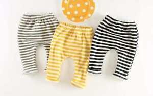 Free-P-amp-P-UK-Seller-Baby-amp-Toddler-Striped-Leggings-Black-or-Grey-Stripe