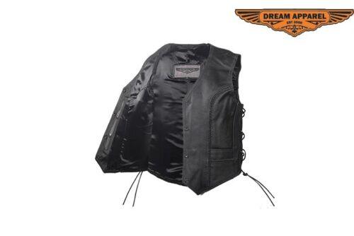 Motorcykel Laces Leathervest Classic Gun Kvinders Lommer 2 Med Biker Flettet 7RY7wq