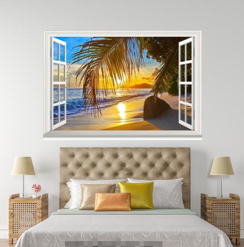 3D Sunlight Palm 58 Open Windows Mural Wall Print Decal Deco AJ Wallpaper Ivy