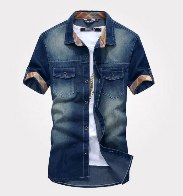 ZD75 New fashion Men's Jeans Casual Slim Fit Stylish Wash-Vintage Denim Shirts
