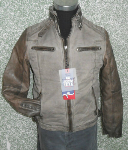 215 02 RUSTY NEAL Betweenseasons jacket Biker Size M beige Faux leather Vintage