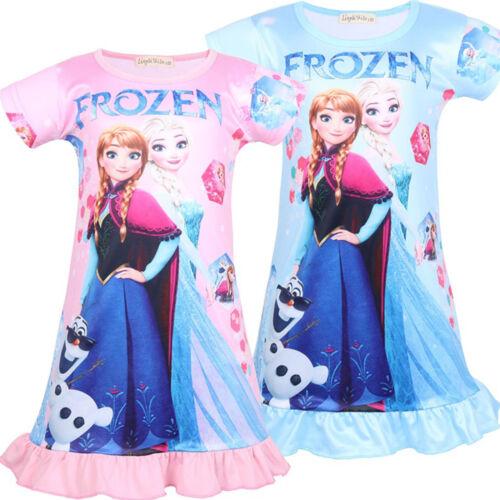 Kid Girls Frozen Unicorn Pajama Dress Baby Long T-Shirt Summer Casual Nightdress