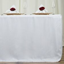 6 ft White Dj Table Cover Stretch Scrim Spandex Type Table Skirt Facade Cover Up