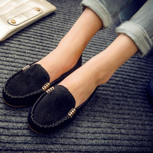 Damen Mokassin Wildleder Schlüpfen Flach Loafer Halbschuhe Slipper Casual Schuhe
