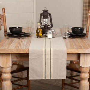 VHC-Farmhouse-13x72-Runner-Tabletop-Kitchen-Appliqued-Sawyer-Mill-Charcoal-Tan