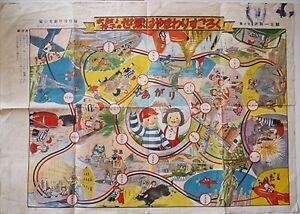 Sugoroku-Tabla-Juego-Caracteres-de-Revista-Visit-Alrededor-el-Mundo-Medio-Showa