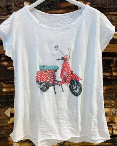 T-Shirt ROLLER ❤️ MOTORROLLER NEU 38 40 42 Made In Italy BLOGGER weiß rot mint