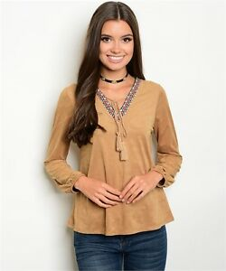 New-USA-Boho-Hippie-Cowgirl-Tan-Faux-Suede-Soft-Western-Aztec-Trim-Blouse-S-L