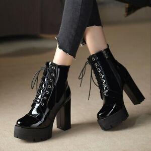 Women Round Toe Punk Boots Patent Leather High Heel Platform Lace Up Knight Shoe