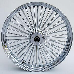 "100% Vrai Chrome 48 King Spoke 21"" X 3.5"" Dual Disc Front Wheel For Harley Bagger Chopper"