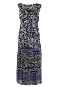 Womens-Ladies-Black-Chiffon-Sleeveless-Floral-Wrap-Front-Midi-Dress-Fully-Lined