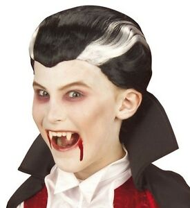 Details about Kids Childrens Black Vampire Wig Count Dracula Scary Horror  Halloween Fancy Dres
