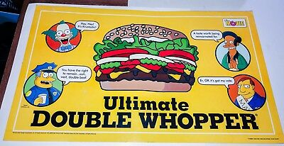 The Simpsons Movie Burger King Double Whopper Double Sided Bk Menu Krusty Apu Ebay