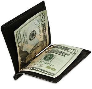 Brown-Genuine-Leather-Men-039-s-Money-Clip-Bifold-Wallet-Front-Pocket