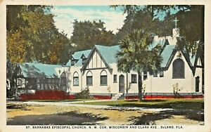 DELAND-FL-ST-BARNABAS-EPISCOPAL-CHURCH-WISCONSIN-AV-1944-PSMK-PRE-LINEN-POSTCARD