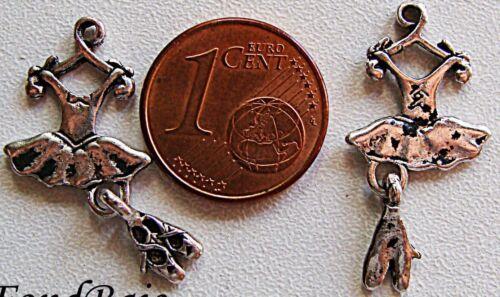 4 breloques perles DANSE TUTU BALLERINE ROBE métal 25mm DIY création bijoux B02