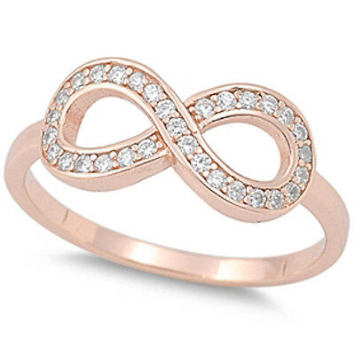 NEW ITEM! ROSE GOLD PLATED CZ INFINITY  .925 Sterling Silver Ring SIZES 5-10
