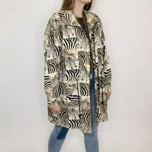 Vintage 80s Valentina Zebra Safari Zip Up Collared Track Jacket OS Womens