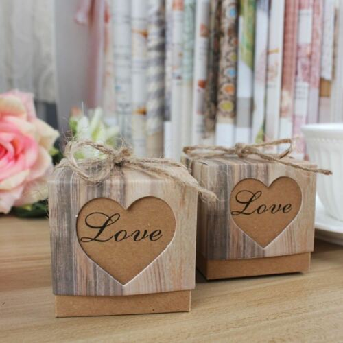 10pcs//lot Wedding Candy Box Romantic Heart Kraft Gift Bag with Burlap Twine Chic