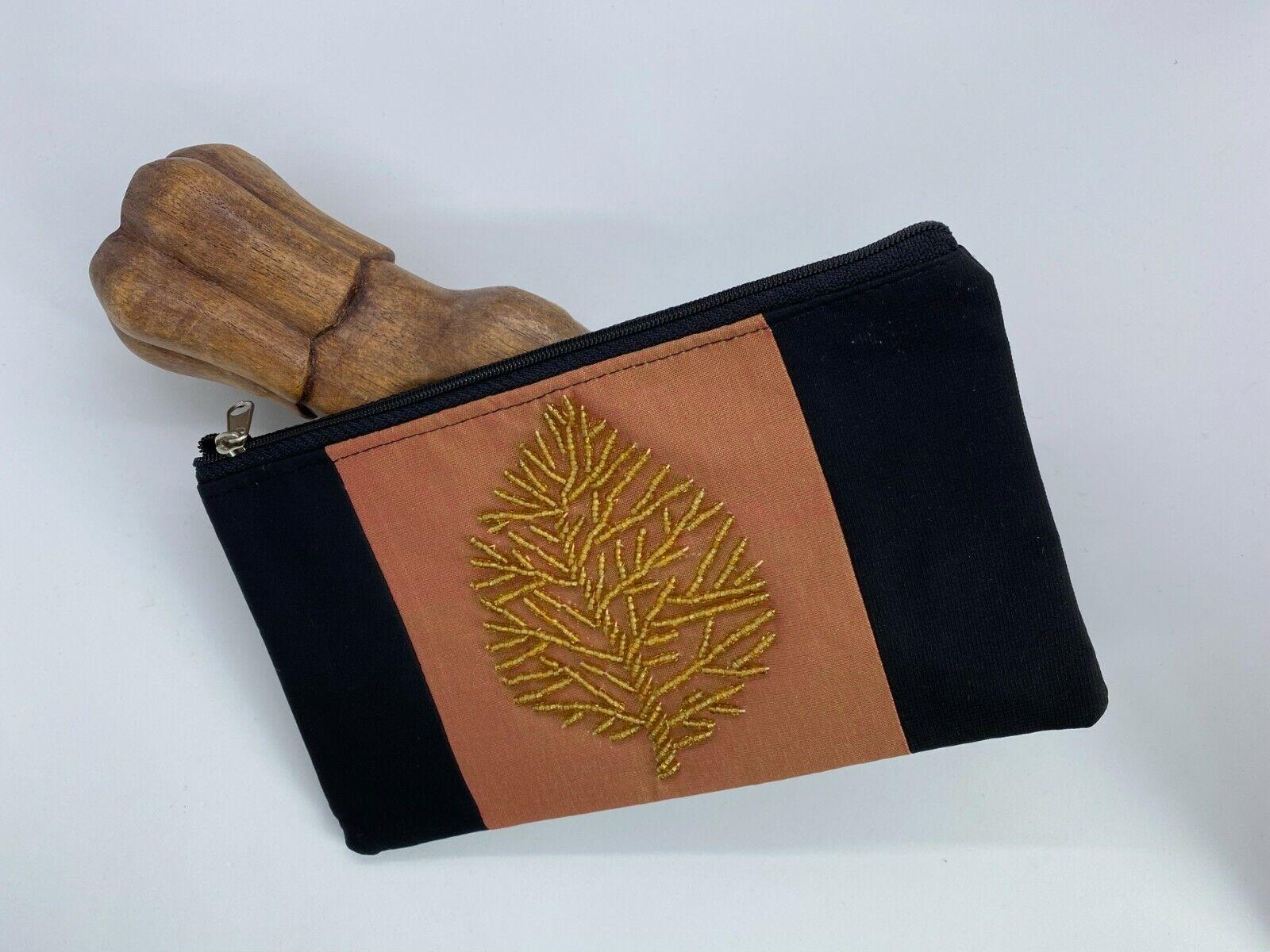 100% Silk Wallet Handmade Black with Beaded Gold Leaf