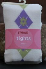 GYMBOREE Girl's Argyle Tights COWGIRLS AT HEART Ivory Purple Green Sz 5 6 7