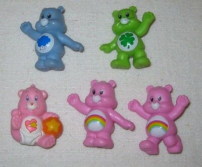 "Care Bears Lot of 5 PVC Figures ~2"" Cake Toppers"