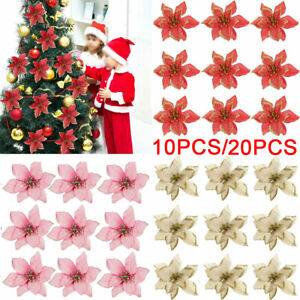 10x Glitter Artificial Poinsettia Flowers Christmas Tree Ornaments Home Decor TH
