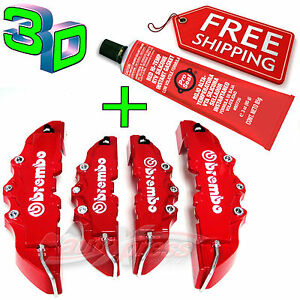 3D-RED-BREMBO-Style-Brake-Caliper-Covers-4-Pcs-Front-amp-Rear-UNIVERSAL-GLUE-Set