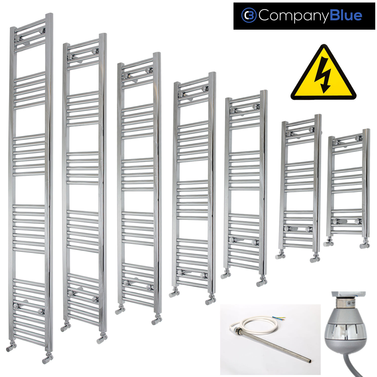 200mm Wide Electric Chrome Heated Towel Rail Radiator Straight Ladder Prefilled