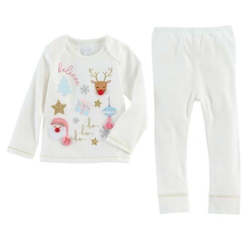 Mud Pie Kids Baby Girls Glitter All Way Santa Reindeer 2 Pc Set