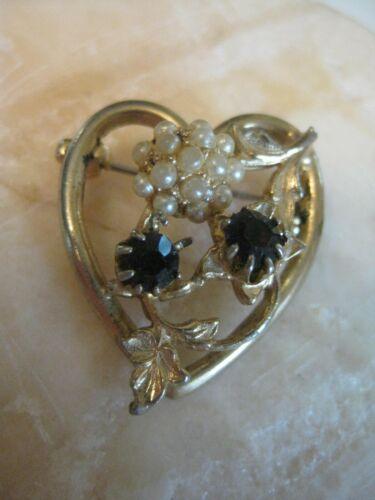 Vintage Heart Brooch Simulated Pearl Cluster Gemst