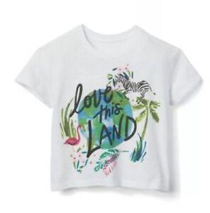 NWT Gymboree Girls Camp Must Haves Zebra Flowers Crop Top Shirt Size Xl 14
