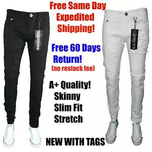 bdfc7c6d Image is loading Mens-BLACK-WHITE-NAVY-KHAKI-Skinny-Jeans-STRETCH-