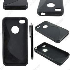 Housse Etui Coque Silicone Motif S-line Noir Apple iPhone 4S 4 + Stylet