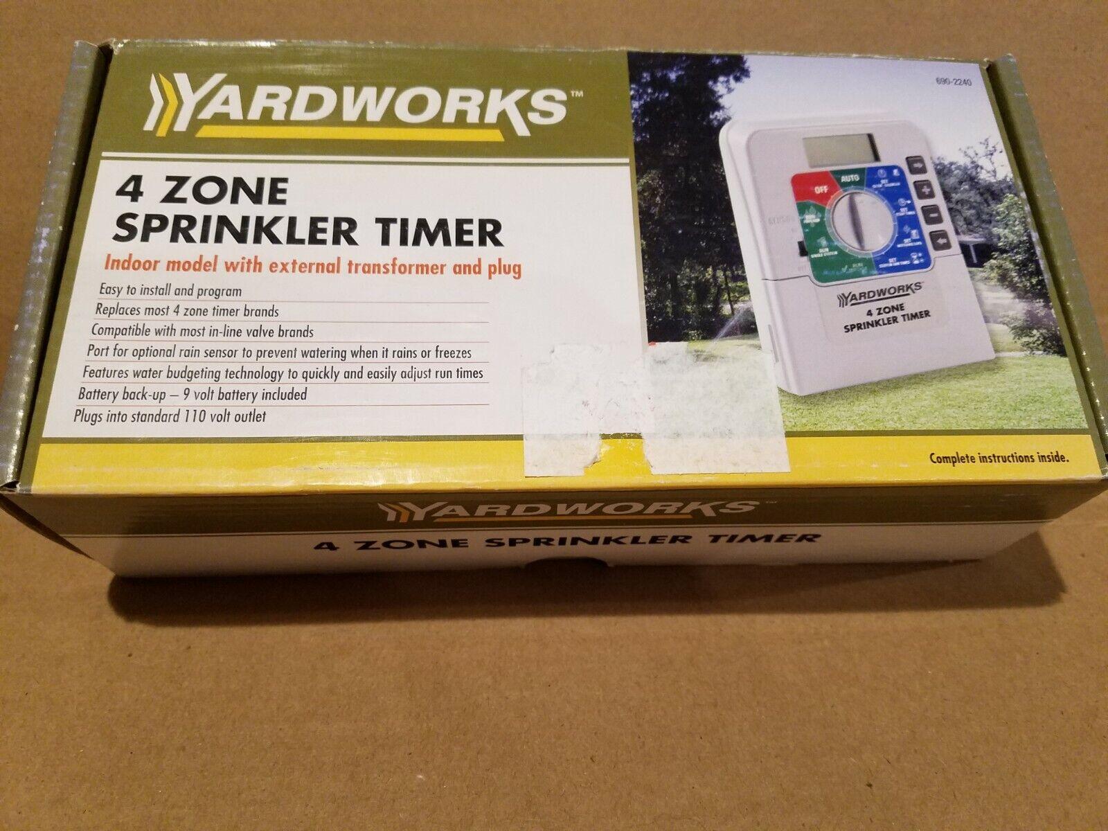 Yardworks 4 zone SPRINKLER TIMER with battery back-up - NEW!