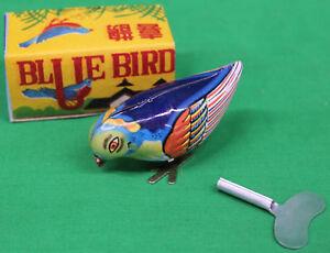Blue Bird Tin Wind Up Toy With Box