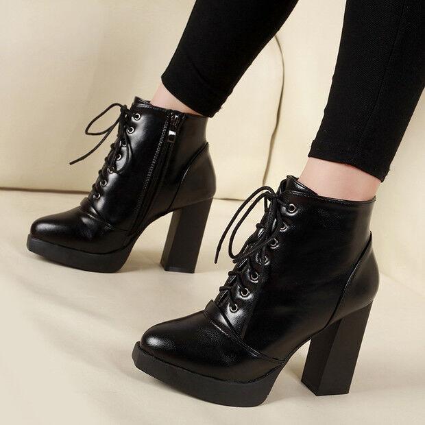 botas stivaletti bassi zapatos alto 10 10 10 cm negro lacci  eleganti simil pelle 9437  oferta especial