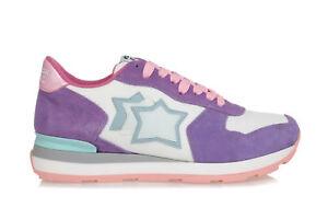 0fbaa0b736 Dettagli su ATLANTIC STARS Scarpe Donna Sneakers VEGA Running Tessuto  Bianco Camoscio Lilla