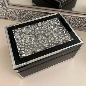 Joya-Diamante-joyero-con-espejos-Baratija-Organizador-de-cajon-de-almacenamiento-Negra